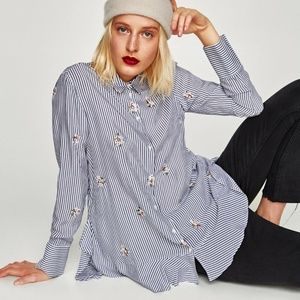NWT ZARA STRIPED FLOWING EMBROIDERED BLOUSE Sz-L